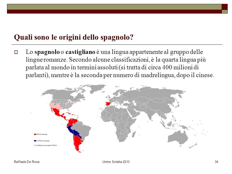 Raffaele De RosaUnitre Soletta 201334 Quali sono le origini dello spagnolo? Lo spagnolo o castigliano è una lingua appartenente al gruppo delle lingue