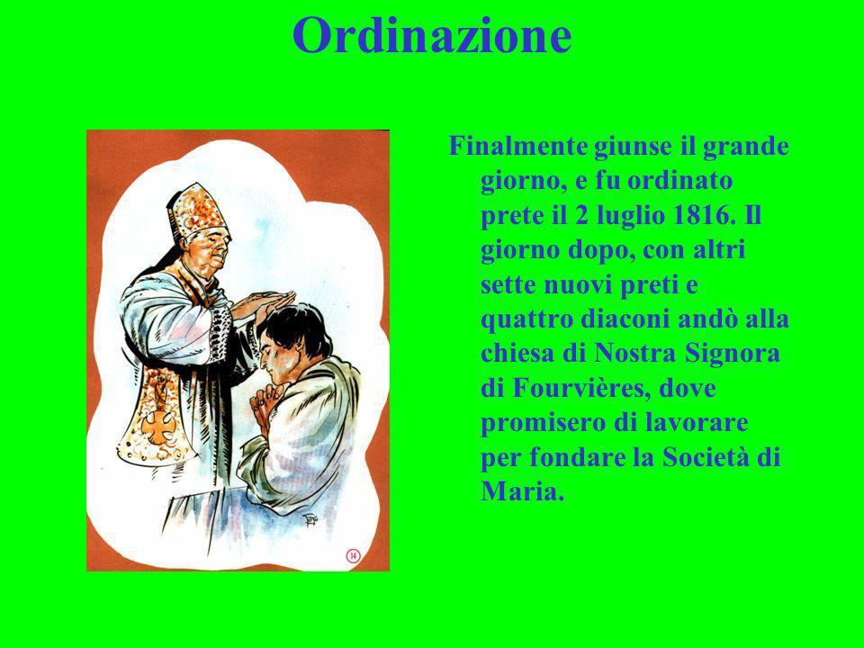 Ordinazione Finalmente giunse il grande giorno, e fu ordinato prete il 2 luglio 1816. Il giorno dopo, con altri sette nuovi preti e quattro diaconi an