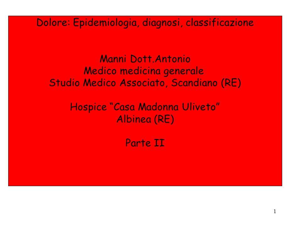 1 Dolore: Epidemiologia, diagnosi, classificazione Manni Dott.Antonio Medico medicina generale Studio Medico Associato, Scandiano (RE) Hospice Casa Ma