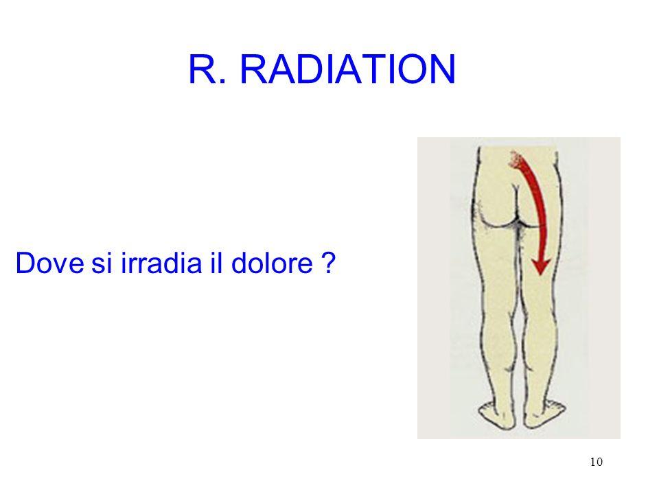 10 R. RADIATION Dove si irradia il dolore ?