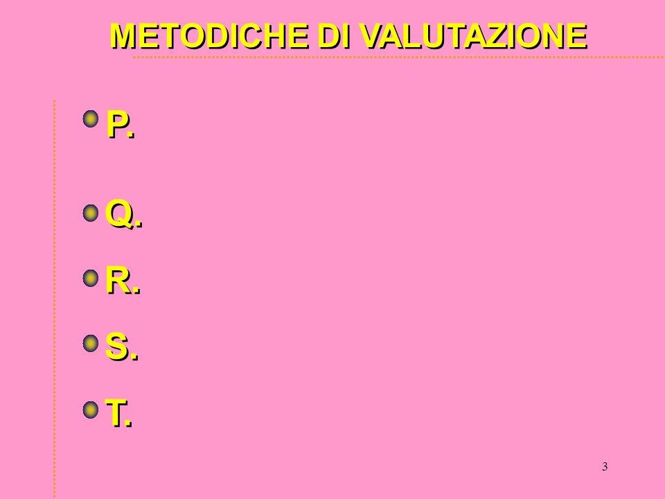 3 METODICHE DI VALUTAZIONE P. Q. R. S. T. Q. R. S. T.