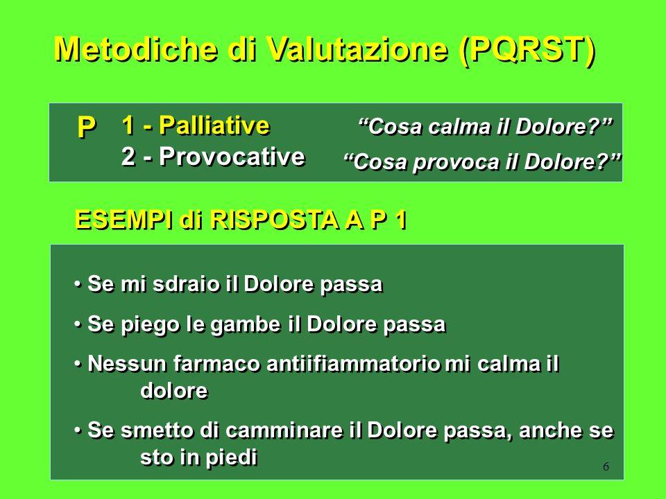 6 Metodiche di Valutazione (PQRST) P P 1 - Palliative 2 - Provocative 1 - Palliative 2 - Provocative Cosa calma il Dolore? Cosa provoca il Dolore? ESE