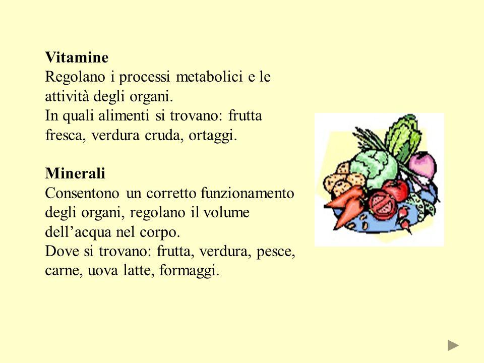 Carboidrati Sono il carburante per muoversi, forniscono lenergia per le funzioni vitali. Si trovano nei cereali, nella pasta, nelle patate, nella frut