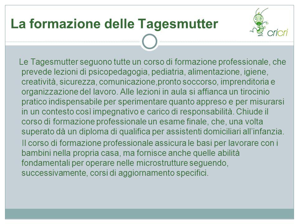 La formazione delle Tagesmutter Le Tagesmutter seguono tutte un corso di formazione professionale, che prevede lezioni di psicopedagogia, pediatria, a