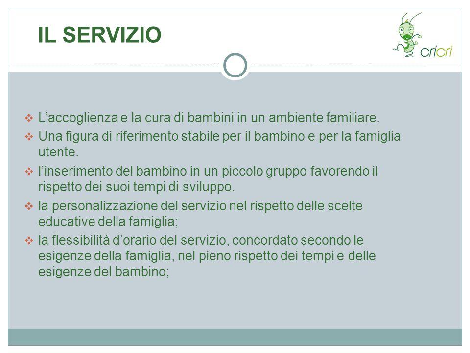 IL SERVIZIO Laccoglienza e la cura di bambini in un ambiente familiare. Una figura di riferimento stabile per il bambino e per la famiglia utente. lin