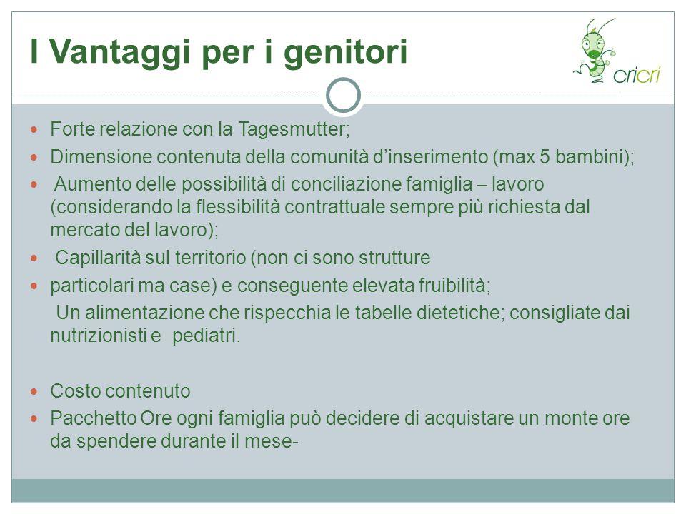 I Vantaggi per i genitori Forte relazione con la Tagesmutter; Dimensione contenuta della comunità dinserimento (max 5 bambini); Aumento delle possibil