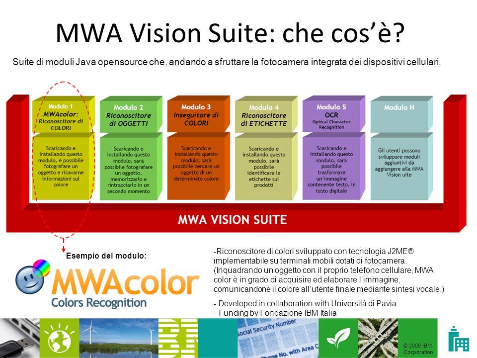 © 2009 IBM Corporation MWA Vision Suite: che cosè? -Riconoscitore di colori sviluppato con tecnologia J2ME® implementabile su terminali mobili dotati