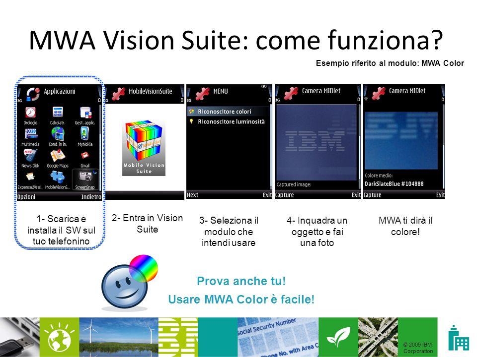 © 2009 IBM Corporation MWA Vision Suite: come funziona? 1- Scarica e installa il SW sul tuo telefonino Esempio riferito al modulo: MWA Color Hyperlink