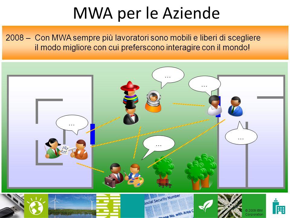 © 2009 IBM Corporation Azienda Università Uffici pubbliciOspedali Scuola Progetto MWA4Wheels in collaborazione con il Politecnico di Milano Progetto MWA per il mondo della Sanità Progetto MWA Vision Suite per riconoscere forme e colori Progetto MWA per il mondo aziendale Progetto MWA Guide per essere guidati allinterno degli uffici pubblici Applicazioni di Mobile Wireless Accessibility