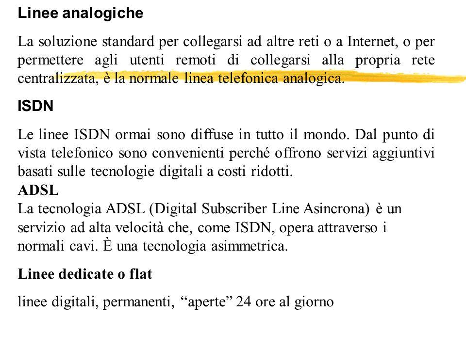 Linee analogiche La soluzione standard per collegarsi ad altre reti o a Internet, o per permettere agli utenti remoti di collegarsi alla propria rete