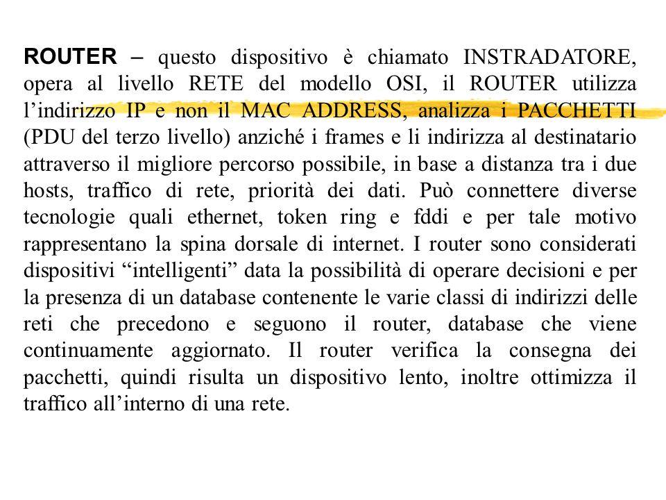 ROUTER – questo dispositivo è chiamato INSTRADATORE, opera al livello RETE del modello OSI, il ROUTER utilizza lindirizzo IP e non il MAC ADDRESS, ana