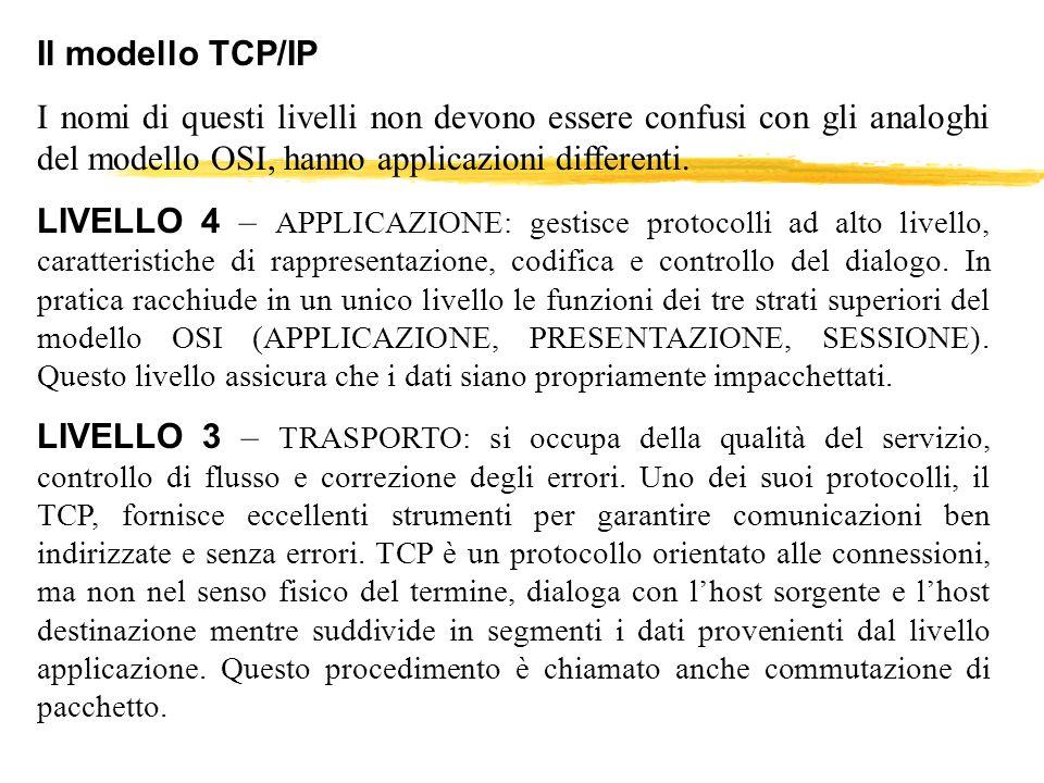 Il modello TCP/IP I nomi di questi livelli non devono essere confusi con gli analoghi del modello OSI, hanno applicazioni differenti. LIVELLO 4 – APPL