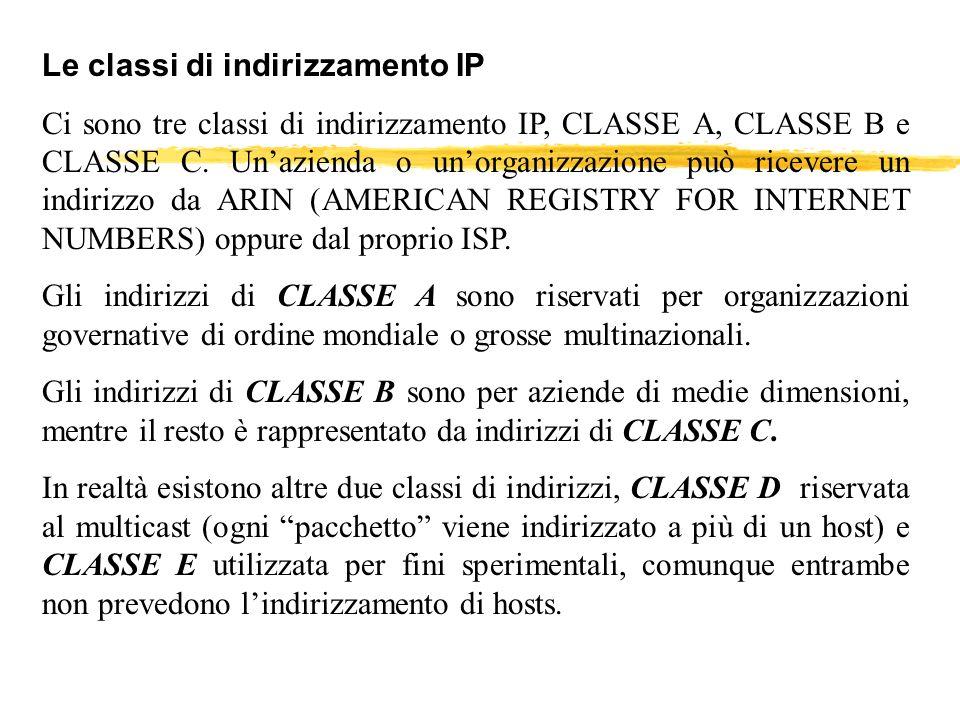Le classi di indirizzamento IP Ci sono tre classi di indirizzamento IP, CLASSE A, CLASSE B e CLASSE C. Unazienda o unorganizzazione può ricevere un in