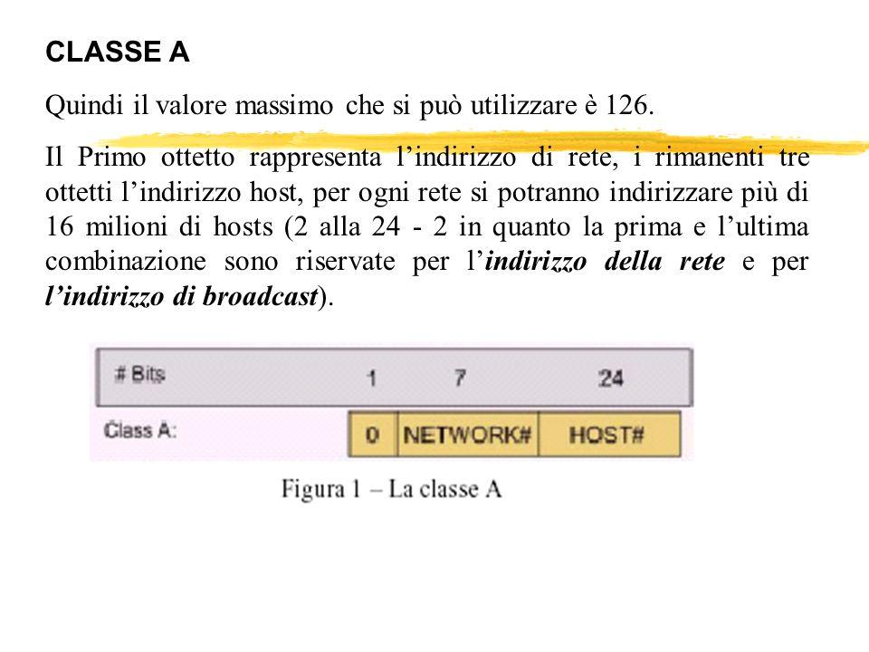CLASSE A Quindi il valore massimo che si può utilizzare è 126. Il Primo ottetto rappresenta lindirizzo di rete, i rimanenti tre ottetti lindirizzo hos