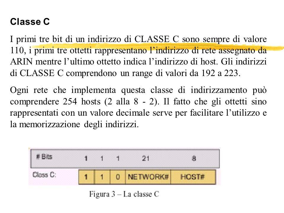 Classe C I primi tre bit di un indirizzo di CLASSE C sono sempre di valore 110, i primi tre ottetti rappresentano lindirizzo di rete assegnato da ARIN