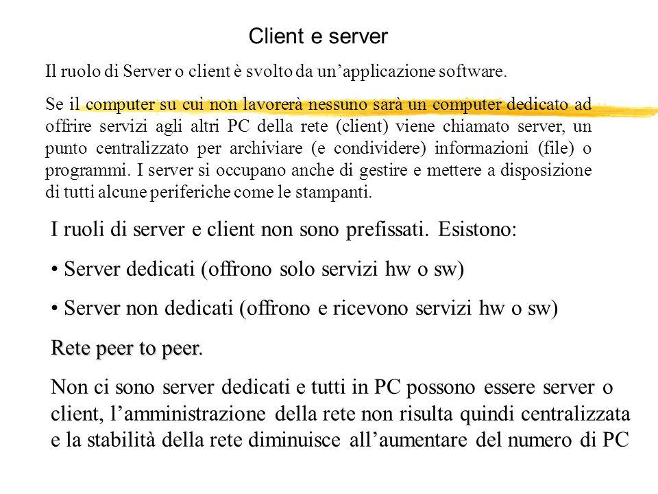 I ruoli di server e client non sono prefissati. Esistono: Server dedicati (offrono solo servizi hw o sw) Server non dedicati (offrono e ricevono servi