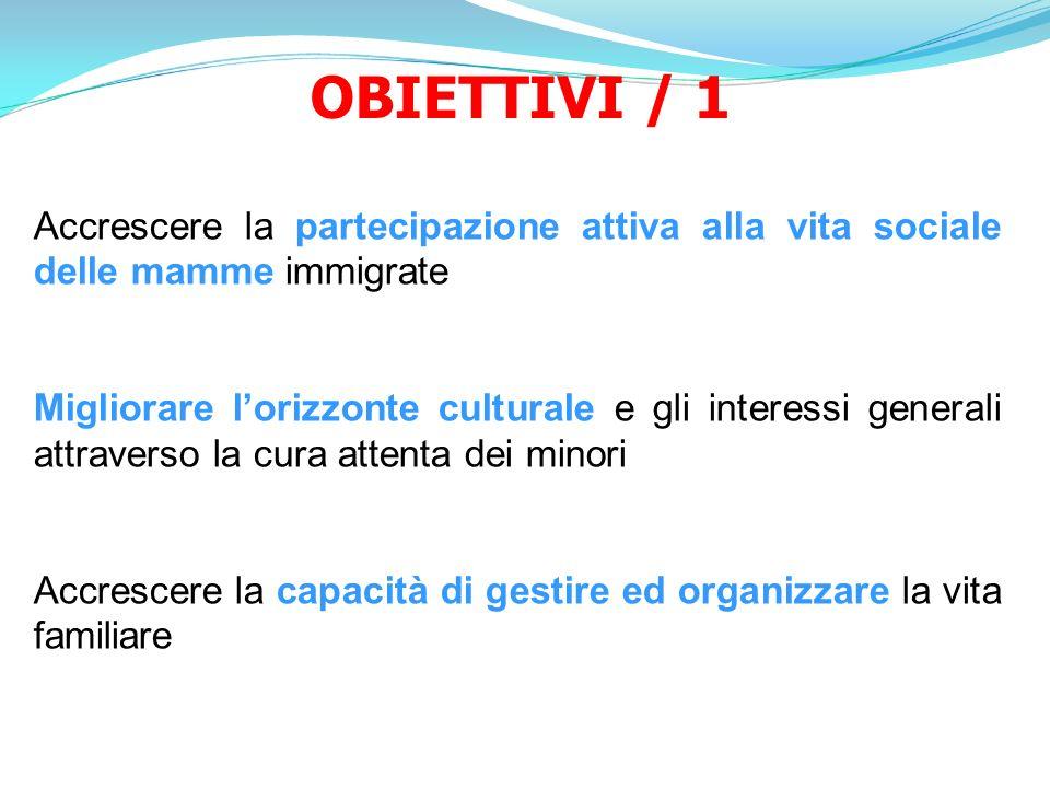OBIETTIVI / 1 Accrescere la partecipazione attiva alla vita sociale delle mamme immigrate Migliorare lorizzonte culturale e gli interessi generali att