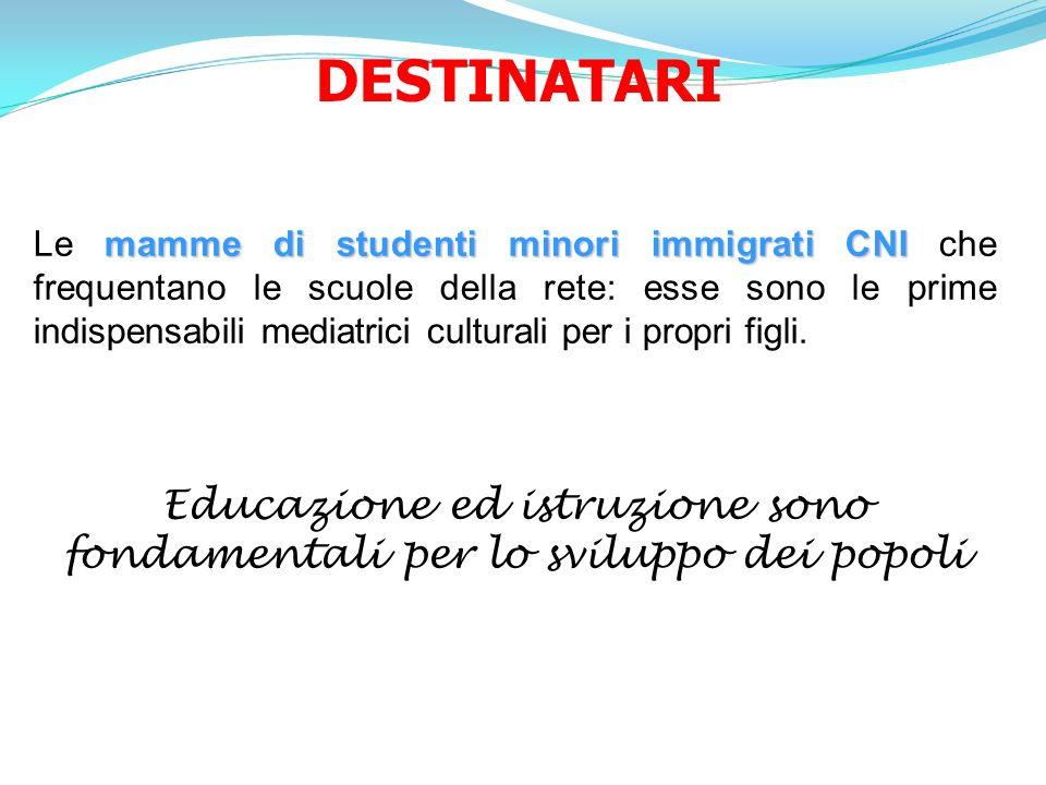DESTINATARI mamme di studenti minori immigrati CNI Le mamme di studenti minori immigrati CNI che frequentano le scuole della rete: esse sono le prime