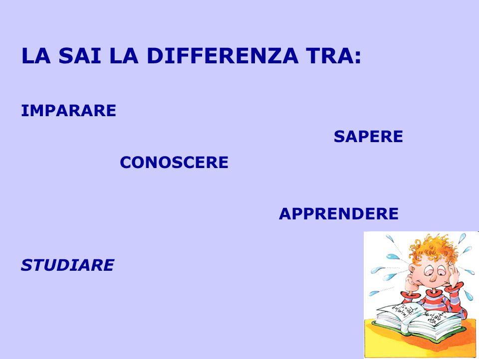 LA SAI LA DIFFERENZA TRA: IMPARARE SAPERE CONOSCERE APPRENDERE STUDIARE