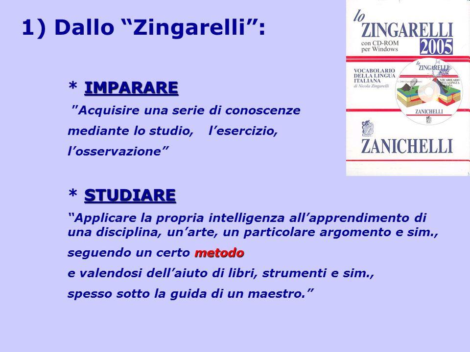 1) Dallo Zingarelli: IMPARARE * IMPARARE Acquisire una serie di conoscenze mediante lo studio, lesercizio, losservazione STUDIARE * STUDIARE Applicare