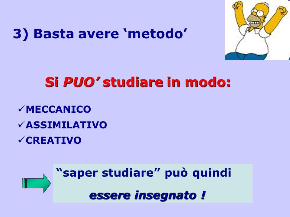 3) Basta avere metodo Si PUO studiare in modo: MECCANICO ASSIMILATIVO CREATIVO saper studiare può quindi essere insegnato !