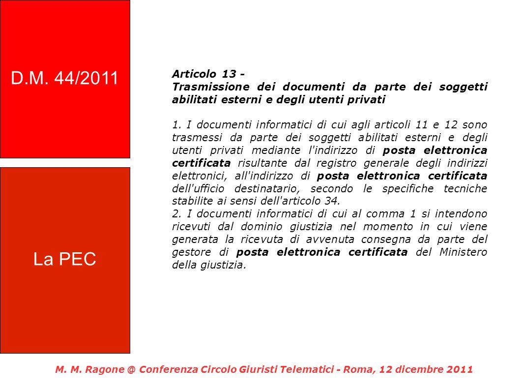 Articolo 13 - Trasmissione dei documenti da parte dei soggetti abilitati esterni e degli utenti privati 1.
