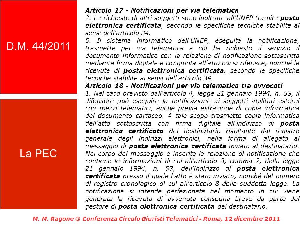 Articolo 17 - Notificazioni per via telematica 2.