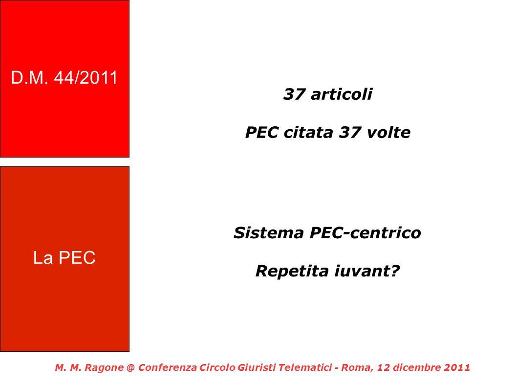 37 articoli PEC citata 37 volte Sistema PEC-centrico Repetita iuvant? M. M. Ragone @ Conferenza Circolo Giuristi Telematici - Roma, 12 dicembre 2011 L