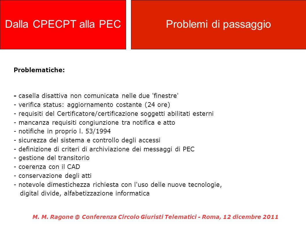 Problematiche: - casella disattiva non comunicata nelle due 'finestre' - verifica status: aggiornamento costante (24 ore) - requisiti del Certificator
