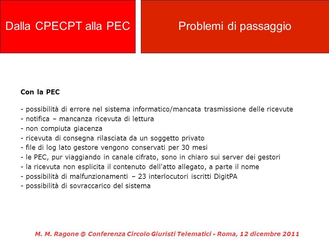 Con la PEC - possibilità di errore nel sistema informatico/mancata trasmissione delle ricevute - notifica – mancanza ricevuta di lettura - non compiut