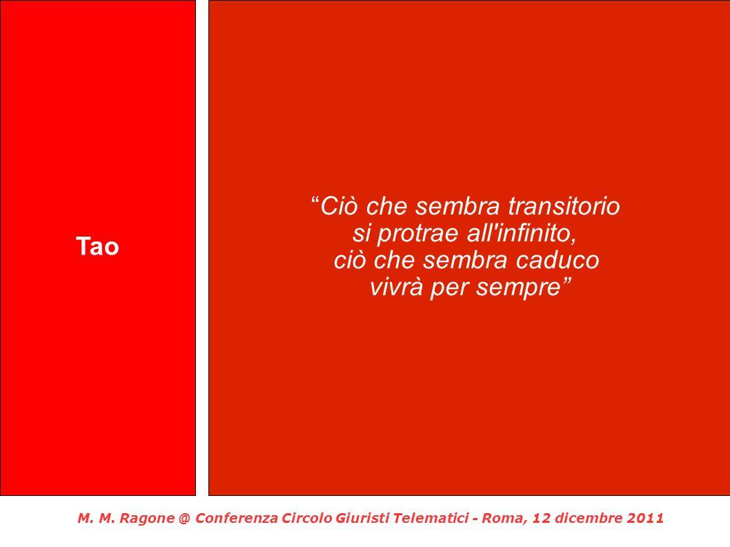 M. M. Ragone @ Conferenza Circolo Giuristi Telematici - Roma, 12 dicembre 2011 Tao Ciò che sembra transitorio si protrae all'infinito, ciò che sembra