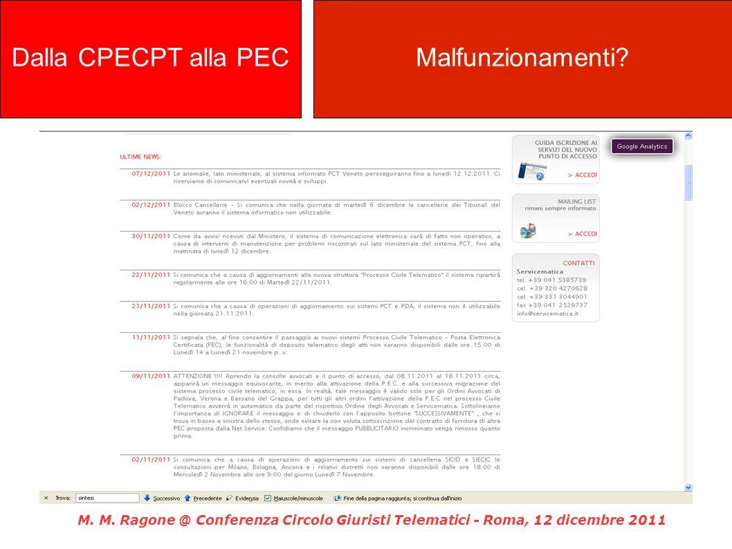 M. M. Ragone @ Conferenza Circolo Giuristi Telematici - Roma, 12 dicembre 2011 Dalla CPECPT alla PECMalfunzionamenti?