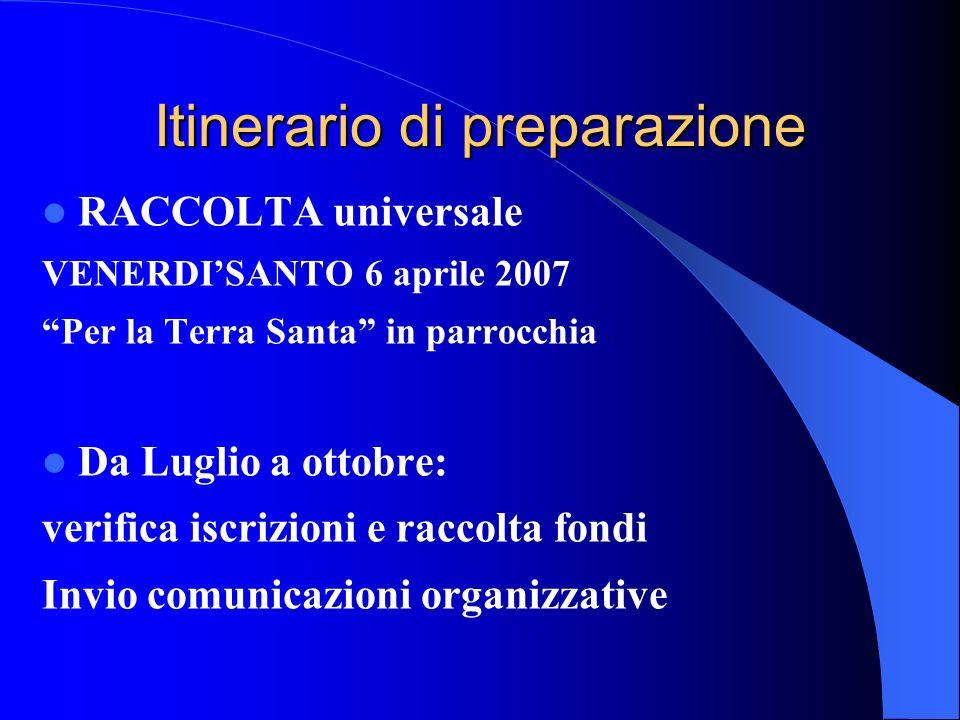 Itinerario di preparazione RACCOLTA universale VENERDISANTO 6 aprile 2007 Per la Terra Santa in parrocchia Da Luglio a ottobre: verifica iscrizioni e