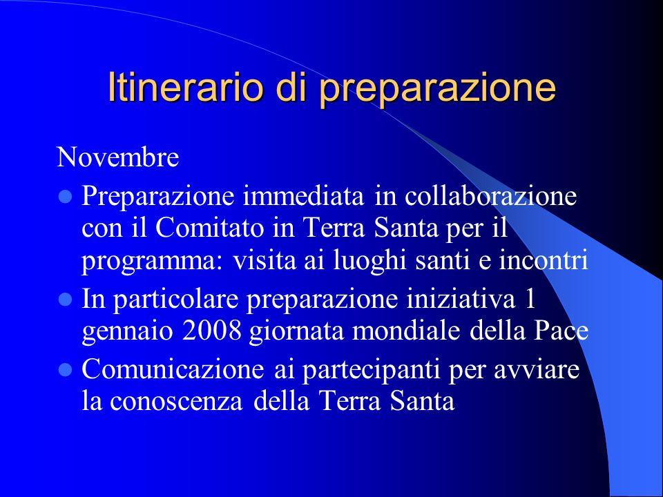 Itinerario di preparazione Novembre Preparazione immediata in collaborazione con il Comitato in Terra Santa per il programma: visita ai luoghi santi e