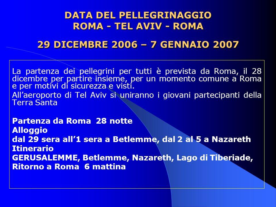 DATA DEL PELLEGRINAGGIO ROMA - TEL AVIV - ROMA 29 DICEMBRE 2006 – 7 GENNAIO 2007 La partenza dei pellegrini per tutti è prevista da Roma, il 28 dicemb