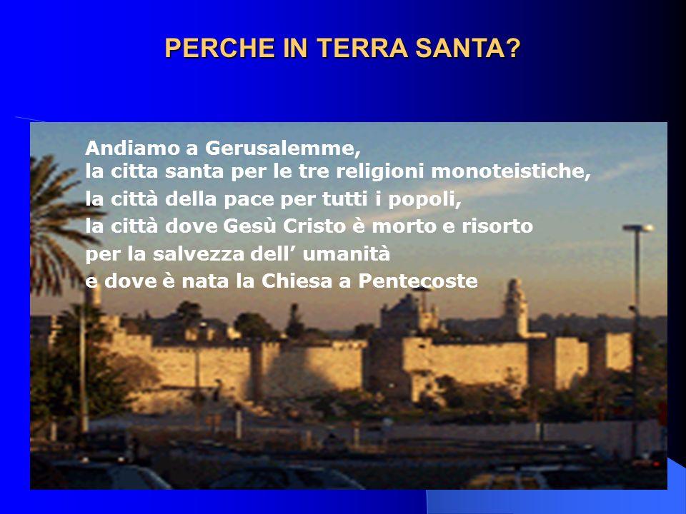 PERCHE IN TERRA SANTA? Andiamo a Gerusalemme, la citta santa per le tre religioni monoteistiche, la città della pace per tutti i popoli, la città dove