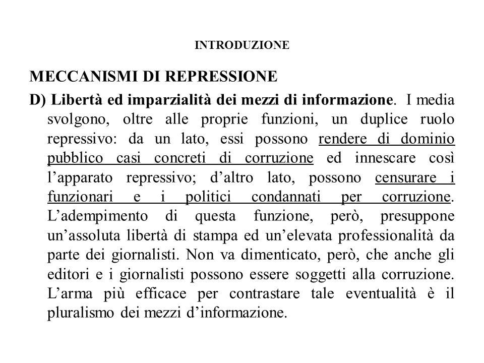 INTRODUZIONE MECCANISMI DI REPRESSIONE D) Libertà ed imparzialità dei mezzi di informazione.