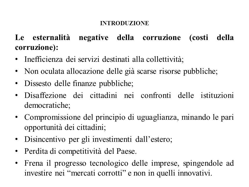 INTRODUZIONE Le esternalità negative della corruzione (costi della corruzione): Inefficienza dei servizi destinati alla collettività; Non oculata allo
