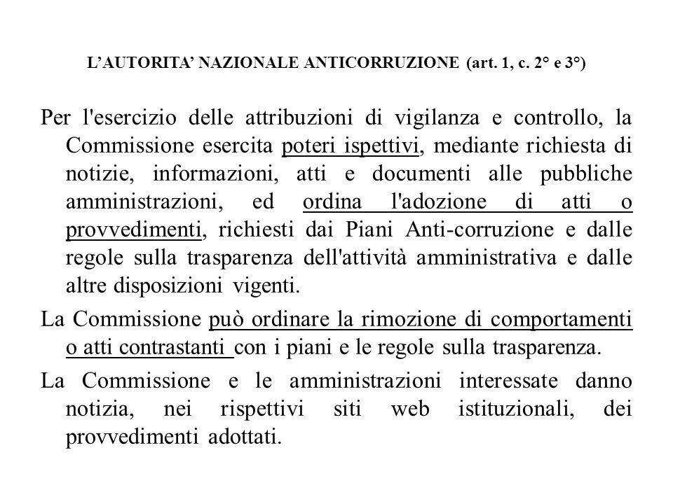 LAUTORITA NAZIONALE ANTICORRUZIONE (art. 1, c. 2° e 3°) Per l'esercizio delle attribuzioni di vigilanza e controllo, la Commissione esercita poteri is