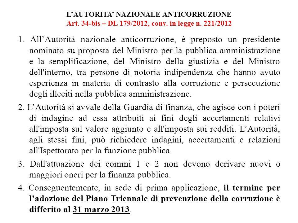 LAUTORITA NAZIONALE ANTICORRUZIONE Art. 34-bis – DL 179/2012, conv. in legge n. 221/2012 1. AllAutorità nazionale anticorruzione, è preposto un presid