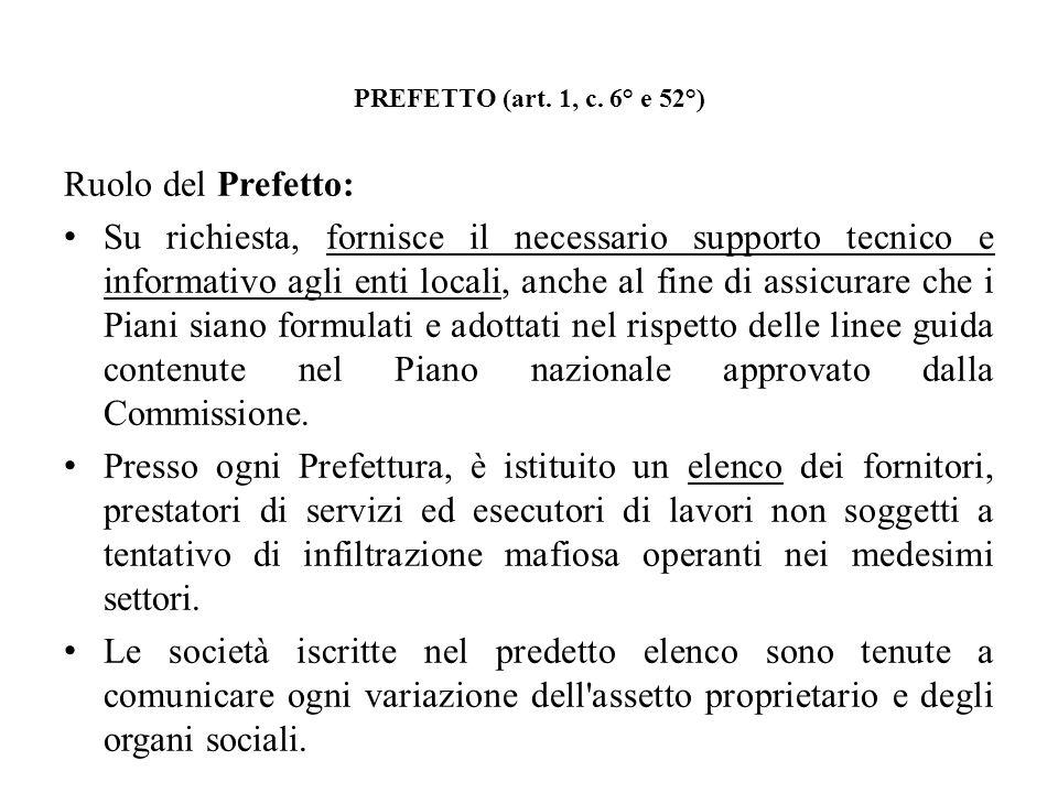 PREFETTO (art. 1, c. 6° e 52°) Ruolo del Prefetto: Su richiesta, fornisce il necessario supporto tecnico e informativo agli enti locali, anche al fine