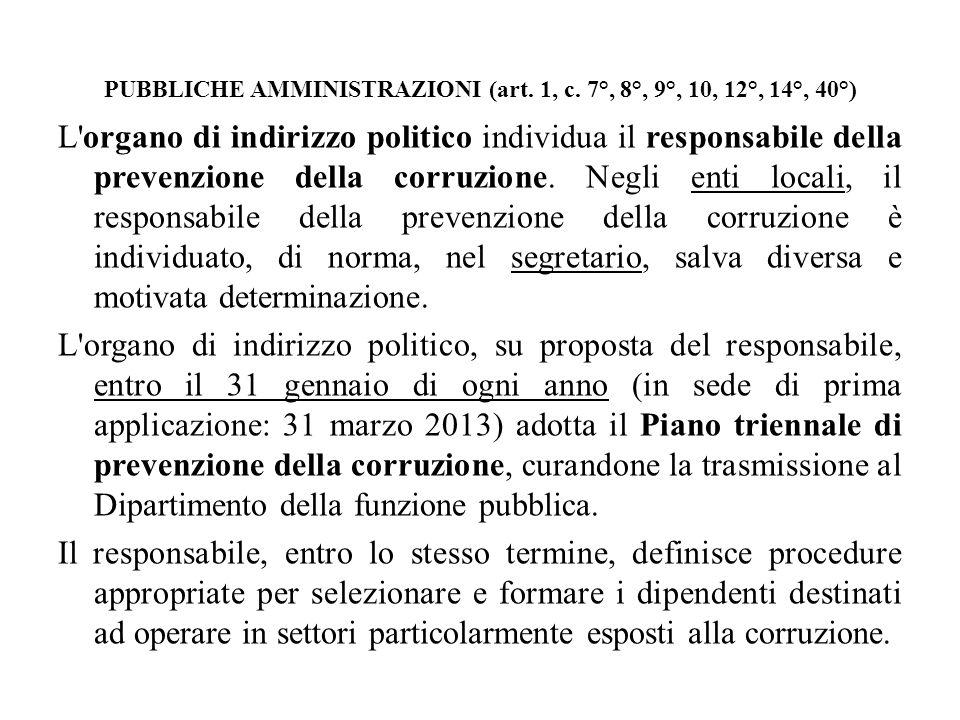 PUBBLICHE AMMINISTRAZIONI (art. 1, c. 7°, 8°, 9°, 10, 12°, 14°, 40°) L'organo di indirizzo politico individua il responsabile della prevenzione della