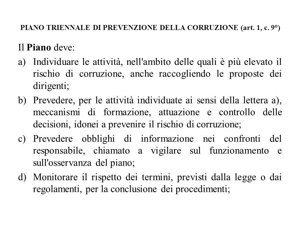 PIANO TRIENNALE DI PREVENZIONE DELLA CORRUZIONE (art. 1, c. 9°) Il Piano deve: a)Individuare le attività, nell'ambito delle quali è più elevato il ris