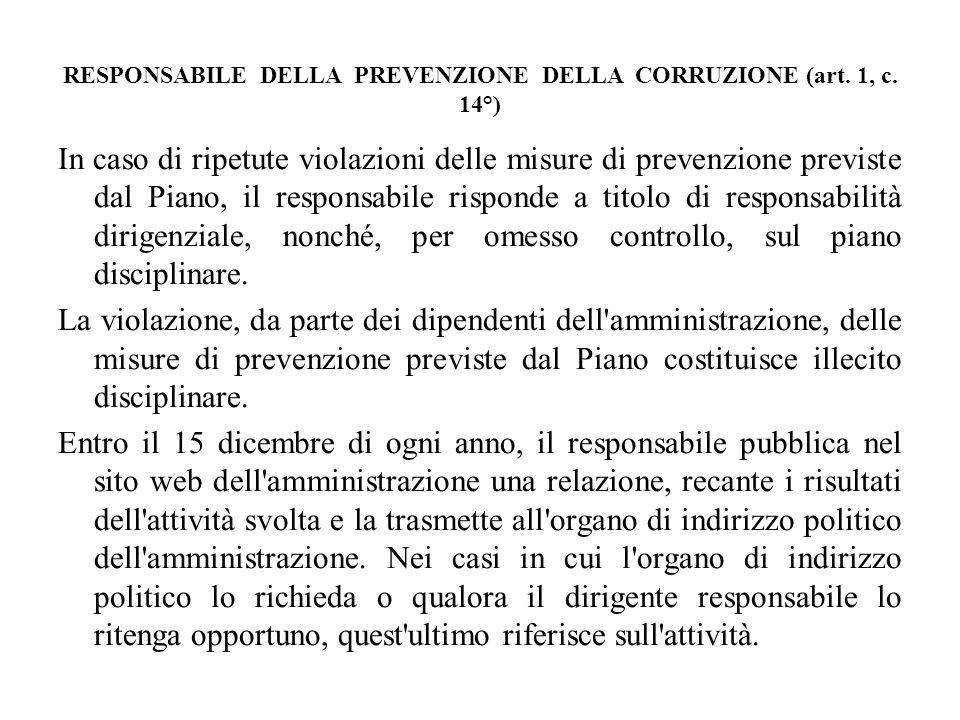 RESPONSABILE DELLA PREVENZIONE DELLA CORRUZIONE (art. 1, c. 14°) In caso di ripetute violazioni delle misure di prevenzione previste dal Piano, il res