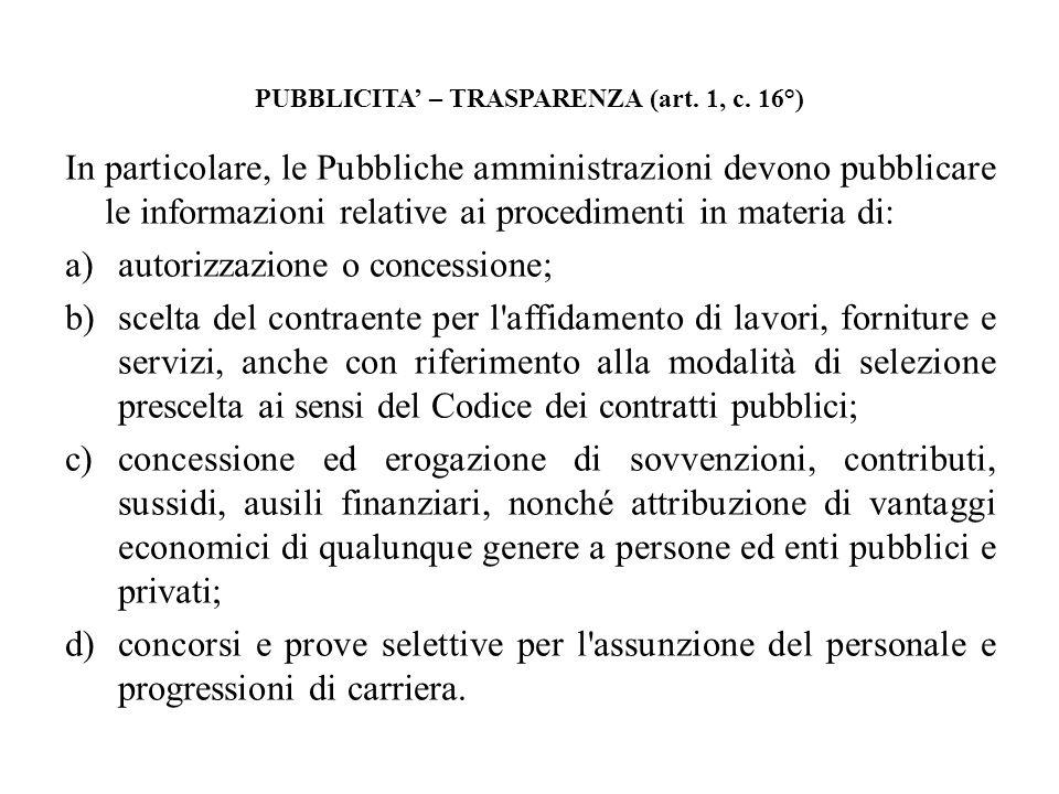 PUBBLICITA – TRASPARENZA (art. 1, c. 16°) In particolare, le Pubbliche amministrazioni devono pubblicare le informazioni relative ai procedimenti in m