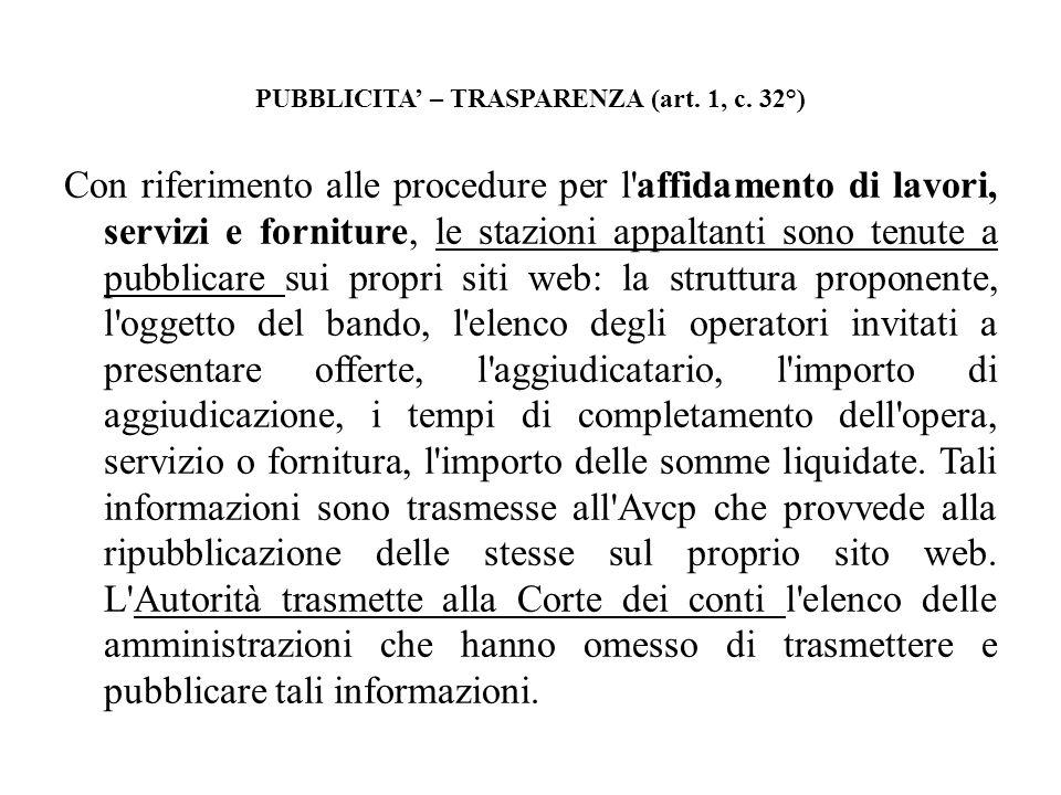 PUBBLICITA – TRASPARENZA (art. 1, c. 32°) Con riferimento alle procedure per l'affidamento di lavori, servizi e forniture, le stazioni appaltanti sono
