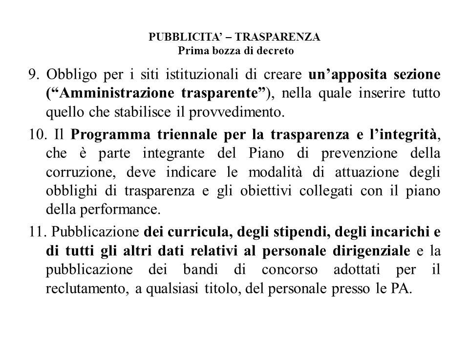PUBBLICITA – TRASPARENZA Prima bozza di decreto 9. Obbligo per i siti istituzionali di creare unapposita sezione (Amministrazione trasparente), nella