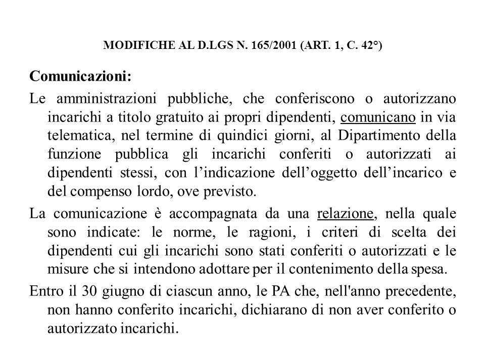 MODIFICHE AL D.LGS N. 165/2001 (ART. 1, C. 42°) Comunicazioni: Le amministrazioni pubbliche, che conferiscono o autorizzano incarichi a titolo gratuit
