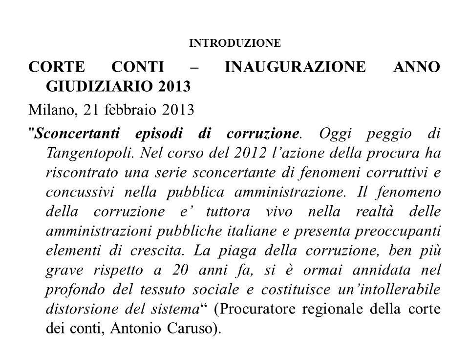 INTRODUZIONE CORTE CONTI – INAUGURAZIONE ANNO GIUDIZIARIO 2013 Milano, 21 febbraio 2013
