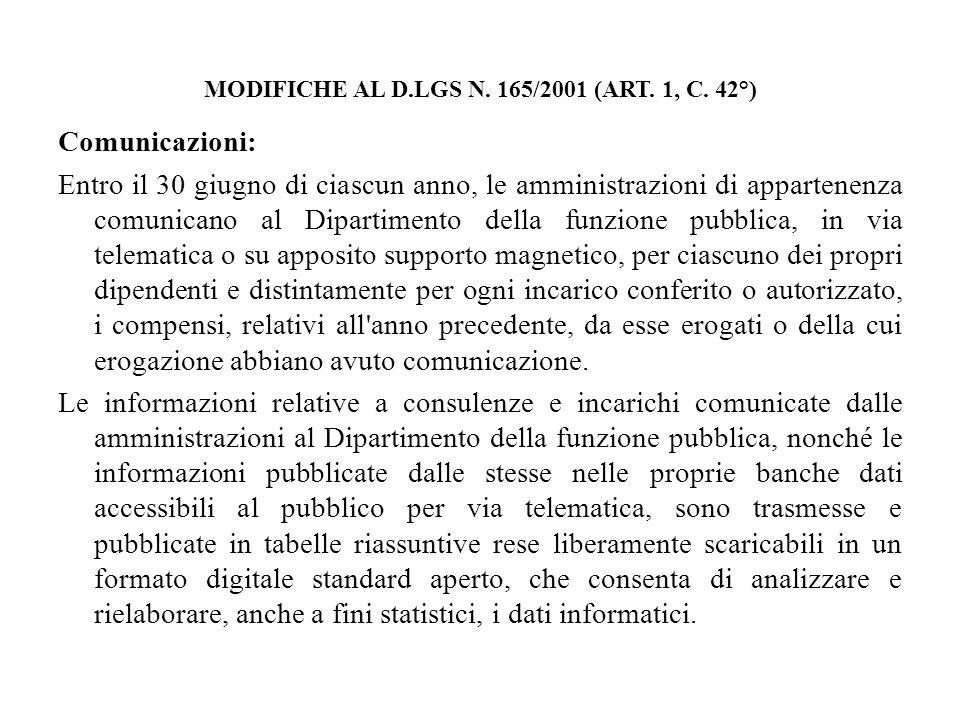 MODIFICHE AL D.LGS N. 165/2001 (ART. 1, C. 42°) Comunicazioni: Entro il 30 giugno di ciascun anno, le amministrazioni di appartenenza comunicano al Di